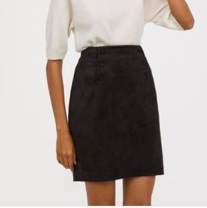 Black imitation suede skirt with buttons